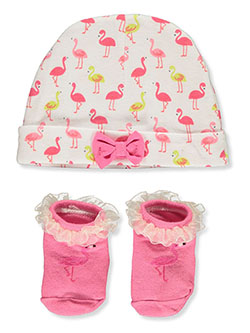 Baby Girls' 2-Piece Hat & Booties Set by Little Me in Fuchsia/multi - Cold Weather Accessories