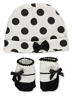 Baby Girls' 2-Piece Hat & Booties Set by Little Me in Black multi - Cold Weather Accessories