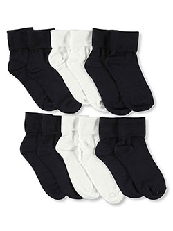 6-Pack Dress Socks in Navy/white, Girls Fashion