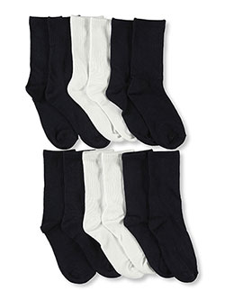 """Classic Crew"" 6-Pack Socks in Navy/white, Boys Fashion"
