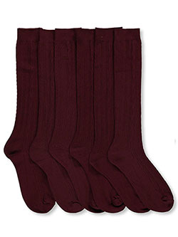 """Checker Cable"" 3-Pack Dress Socks in Burgundy, School Uniforms"