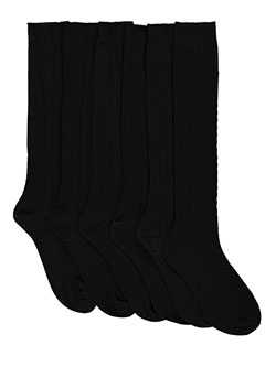 """Checker Cable"" 3-Pack Dress Socks in Black, School Uniforms"