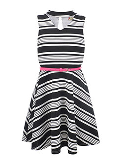 "Speechless Big Girls' ""Striped Cutout"" Belted Dress (Sizes 7 – 16) - CookiesKids.com"
