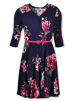 Girls' Floral Belted Wrap Dress by Speechless in Navy/pink