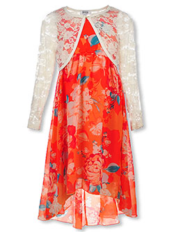 Girls' Floral Halter Dress with Shrug by Speechless in Coral/red