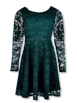 Girls' Classic Lace Dress by Speechless in Hunter green, Girls Fashion