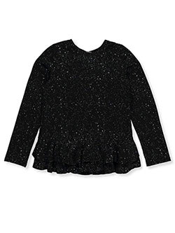 Girls' Starry Ruffle Top by Speechless in black and wine, Girls Fashion