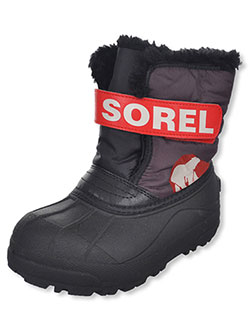 Girls' Snow Commander Boots by Sorel in dark gray and purple, Shoes