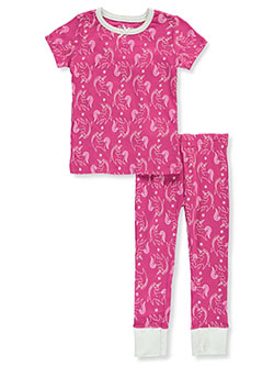 Girls' Unicorn 2-Piece Pajamas by Hartstrings in raspberry and white