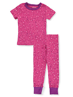 Girls' Stars 2-Piece Pajamas by Hartstrings in raspberry and white