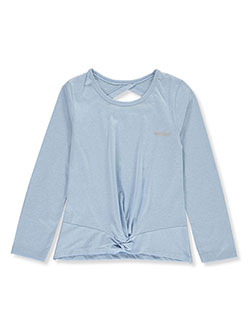 Girls' Gathered Hem Top by Hind in blue and gray