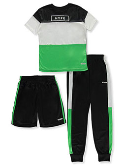 Boys' 3-Piece Color Block Shorts Set Outfit by Hind in Black