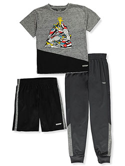 Boys' 3-Piece Panel Shorts Set Outfit by Hind in Gray