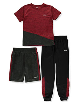 Boys' 3-Piece Panel Shorts Set Outfit by Hind in Red, Boys Fashion