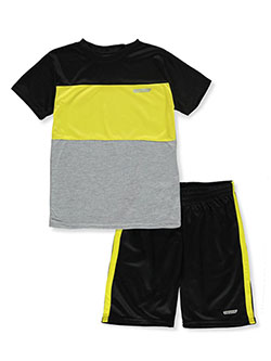 Boys' 2-Piece Color Block Shorts Set Outfit by Hind in gray multi and white/multi, Boys Fashion