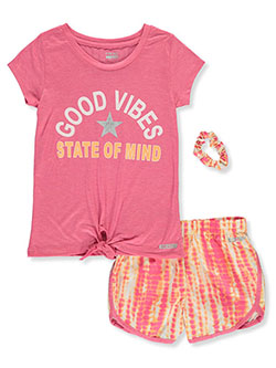 Girls' 2-Piece Shorts Set Outfit by Hind in fuchsia/multi and green/multi, Girls Fashion