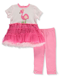 Pink Flamingo Tutu Dress with Leggings 2-Piece Set Outfit by Quiltex in Multi