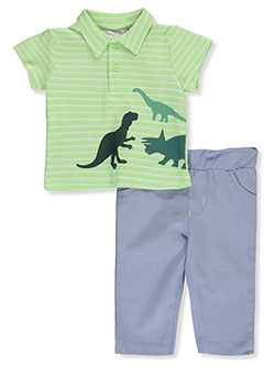 Polo Chambray 2-Piece Pants Set Outfit by Quiltex in Green/multi