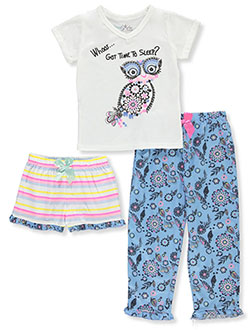 Girls' Owls 3-Piece Pajamas by Freestyle Revolution in Multi, Girls Fashion