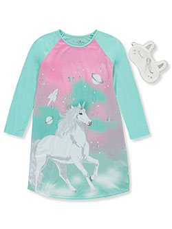 Girls' Unicorn Nightgown with Sleep Mask by Freestyle in Multi