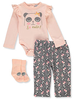 Baby Girls' Panda 3-Piece Layette Set by Quiltex in Multi, Infants
