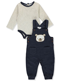 Bear 2-Piece Overalls Set Outfit by Quiltex in Multi, Infants