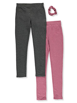 2-Pack Jeggings with Hair Scrunchie by Freestyle in Mauve/gray, Girls Fashion
