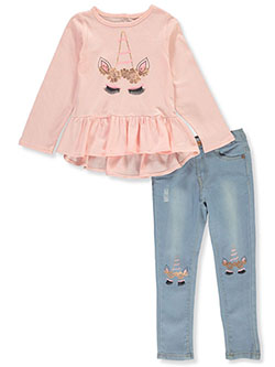 Girls' Unicorn 2-Piece Jeans Set Outfit by Freestyle in Multi