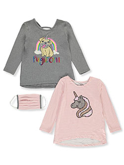 Girls' Pugicorn 2-Pack Tops with Mask by Freestyle in Multi, Girls Fashion