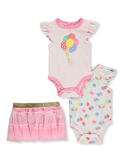 Balloons 2-Pack Bodysuits With Skirt by Quiltex in Pink/multi, Infants