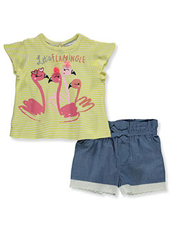 Bab Flamingo 2-Piece Shorts Set Outfit by Freestyle Revolution in Yellow/multi