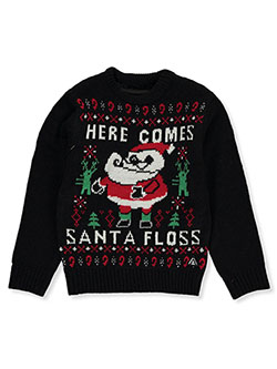 Boys' Santa Floss Sweater by American Stitch in Black, Boys Fashion