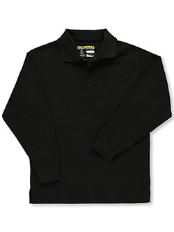 Unisex L/S Pique Polo by Universal in black, blue, yellow and more, pique polo