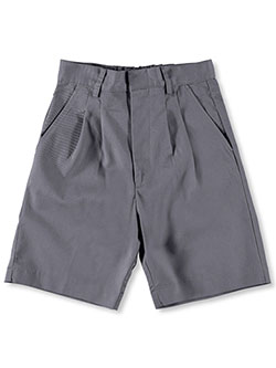 Basic Unisex Pleated Shorts by Universal in gray, khaki and navy