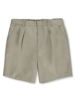 Basic Unisex Pleated Shorts by Universal in khaki and navy, School Uniforms