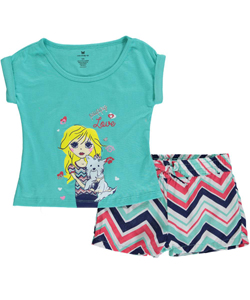 "One Step Up Little Girls' ""Zigzag Pup"" 2-Piece Outfit (Sizes 4 – 6X) - CookiesKids.com"
