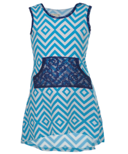 "One Step Up Little Girls' ""Chevron & Lace"" Hi-Low Dress (Sizes 4 – 6X) - CookiesKids.com"
