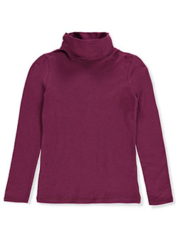 Girls' Turtleneck by Qtee in burgundy and pink berry, Sizes 2T-4T