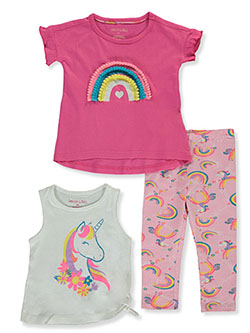 Rainbow & Unicorn 3-Piece Leggings Set Outfit by Colette Lilly in Pink/white