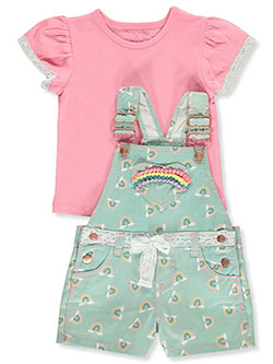 Rainbows and Lace 2-Piece Shortalls Set Outfit by Colette Lilly in Rainbow, Girls Fashion