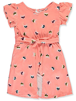 Girls' Cool Dog Romper/Dress Combo by One Step Up in Peach