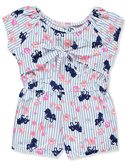 Girls' Stripes and Unicorns Romper by One Step Up in Navy