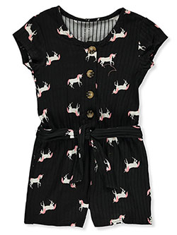 Girls' Unicorn Print Romper by One Step Up in Black, Girls Fashion