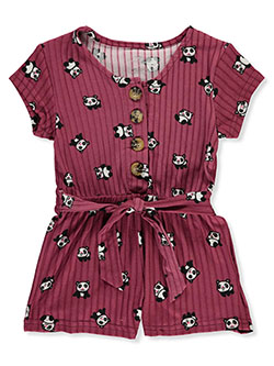 Girls' Panda Stripe Romper by One Step Up in Berry