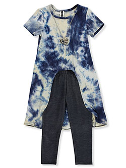 Tie-Die Rib Hi-Low 2-Piece Leggings Set Outfit by Insta Girl in Navy, Girls Fashion
