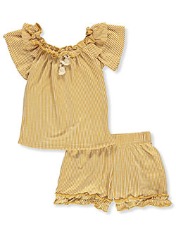 Stripe Ruffle 2-Piece Shorts Set Outfit by Insta Girl in Mustard, Girls Fashion