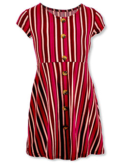 Girls' Button and Stripe Dress by One Step Up in Multi