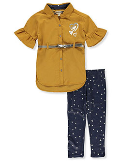 Belted Bell Sleeve 2-Piece Leggings Set Outfit by One Step Up in Mustard, Girls Fashion