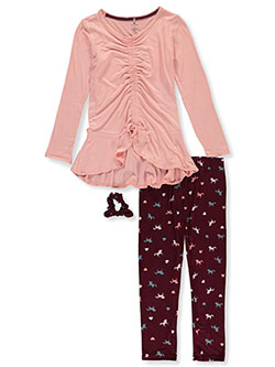 Horse Print 3-Piece Leggings Set Outfit by One Step Up in Pink