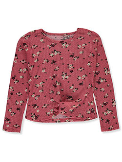 Girls' Floral Gathered Thermal Top by One Step Up in Pink